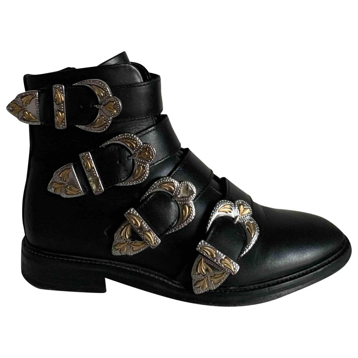 Maje - Boots   pour femme en cuir - noir