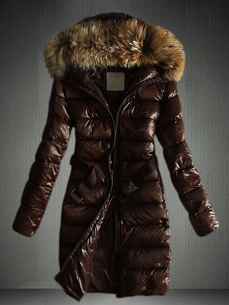 Milanoo Women Jacket Black Puffer Coat Faux Fur Hooded Long Sleeves Qualited Jacket For Winter