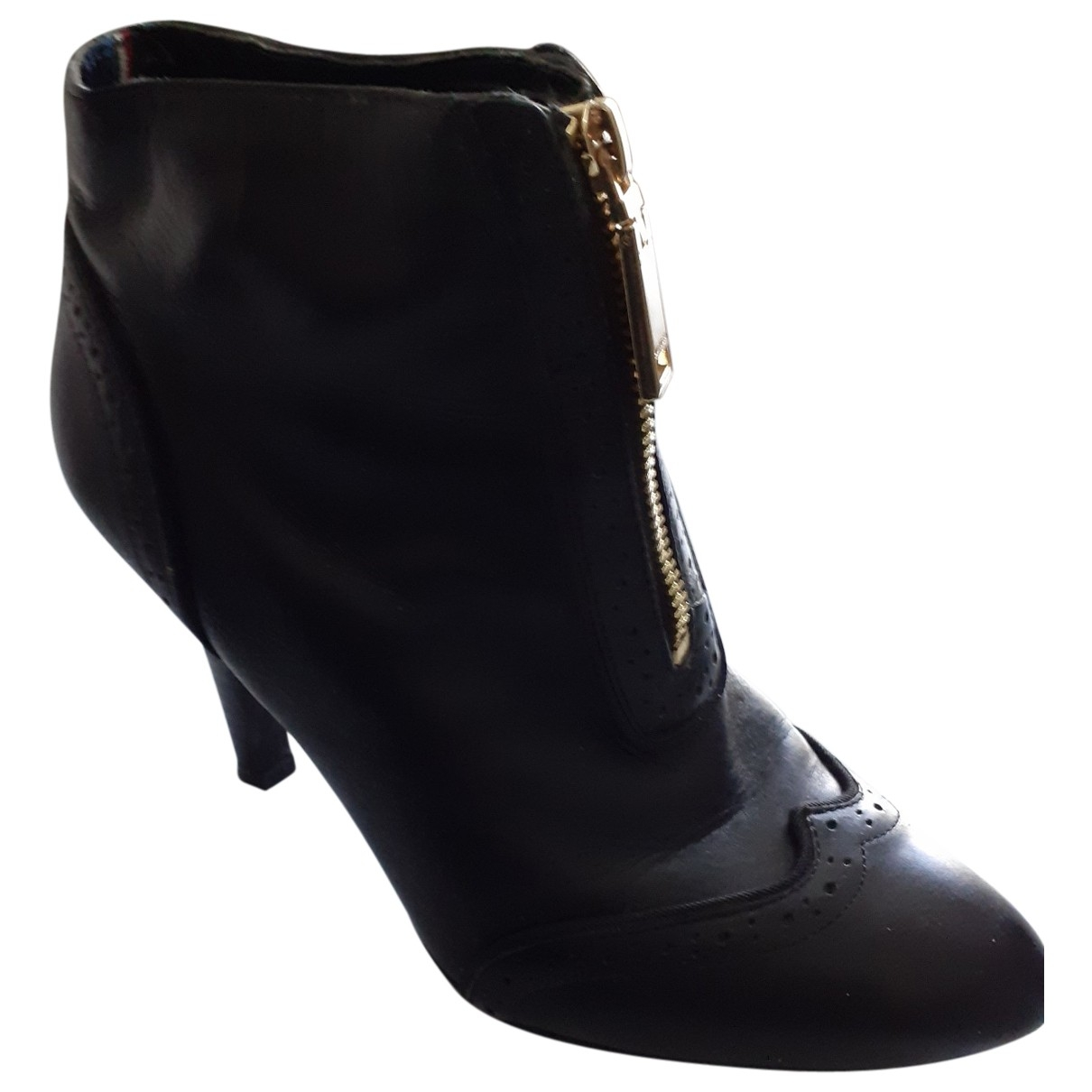 Tommy Hilfiger \N Black Leather Ankle boots for Women 7.5 US