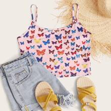 Plus Butterfly Print Cropped Cami Top