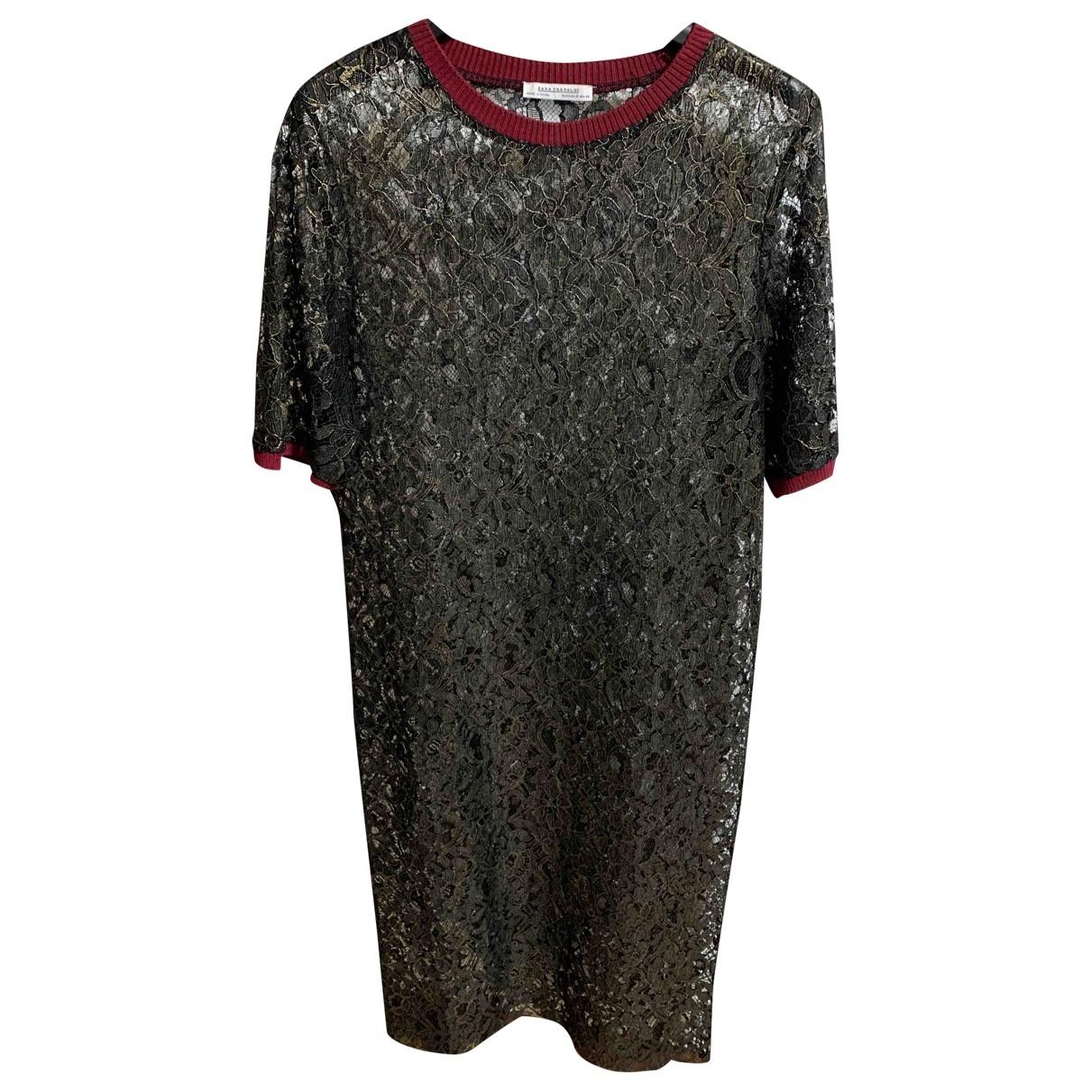 Zara - Robe   pour femme en dentelle - noir