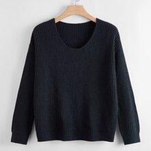 Plus Scoop Neck Drop Shoulder Sweater