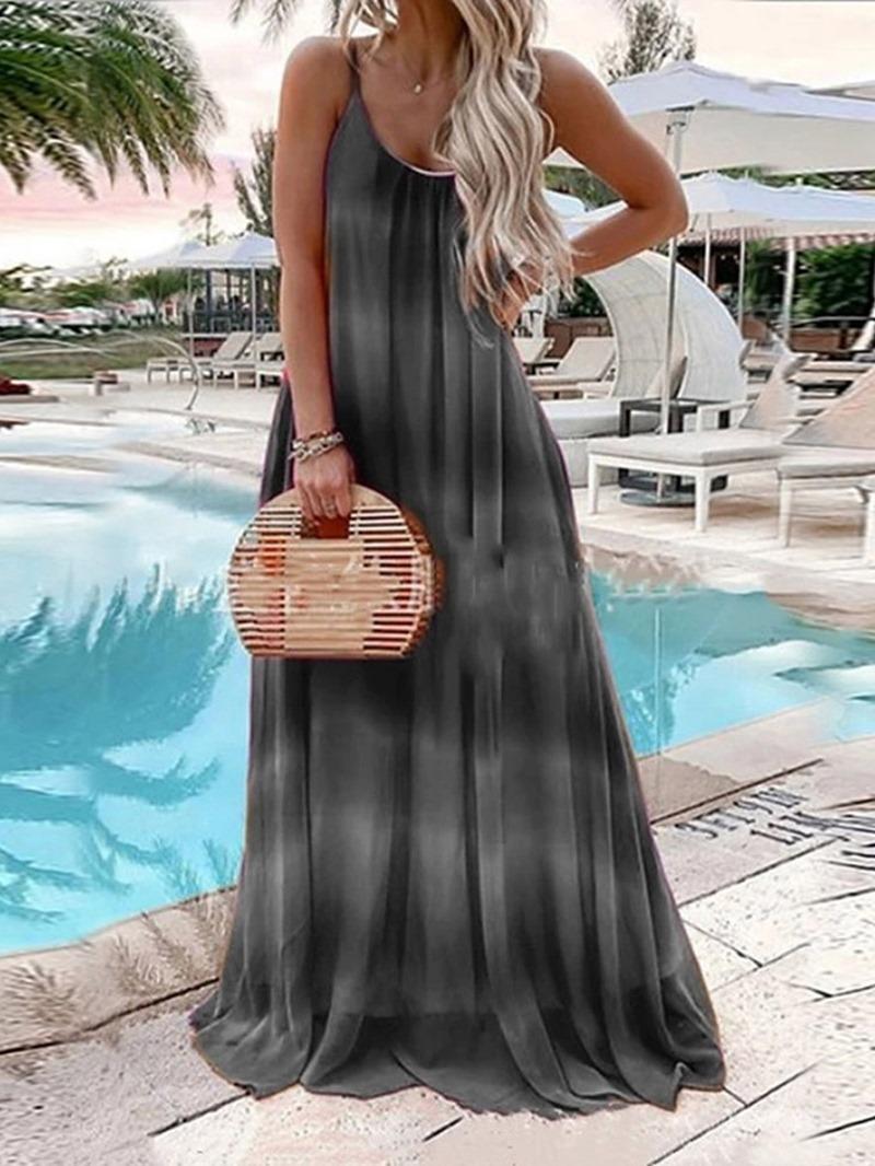 Ericdress Sleeveless Floor-Length Print High Waist A-Line Dress