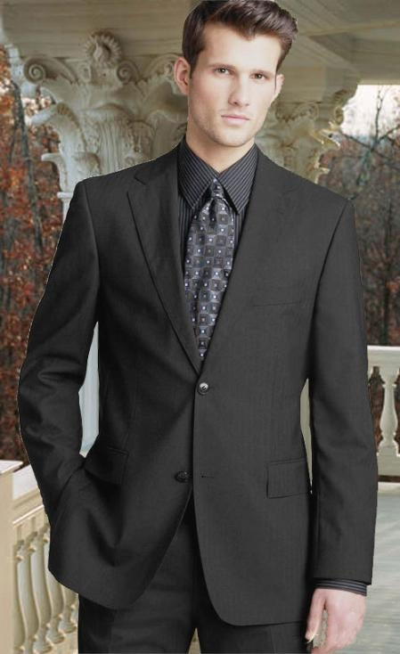 Charcoal Gray 2Button Wool 2pc Suit with Hand Pick Stitching on Lapel