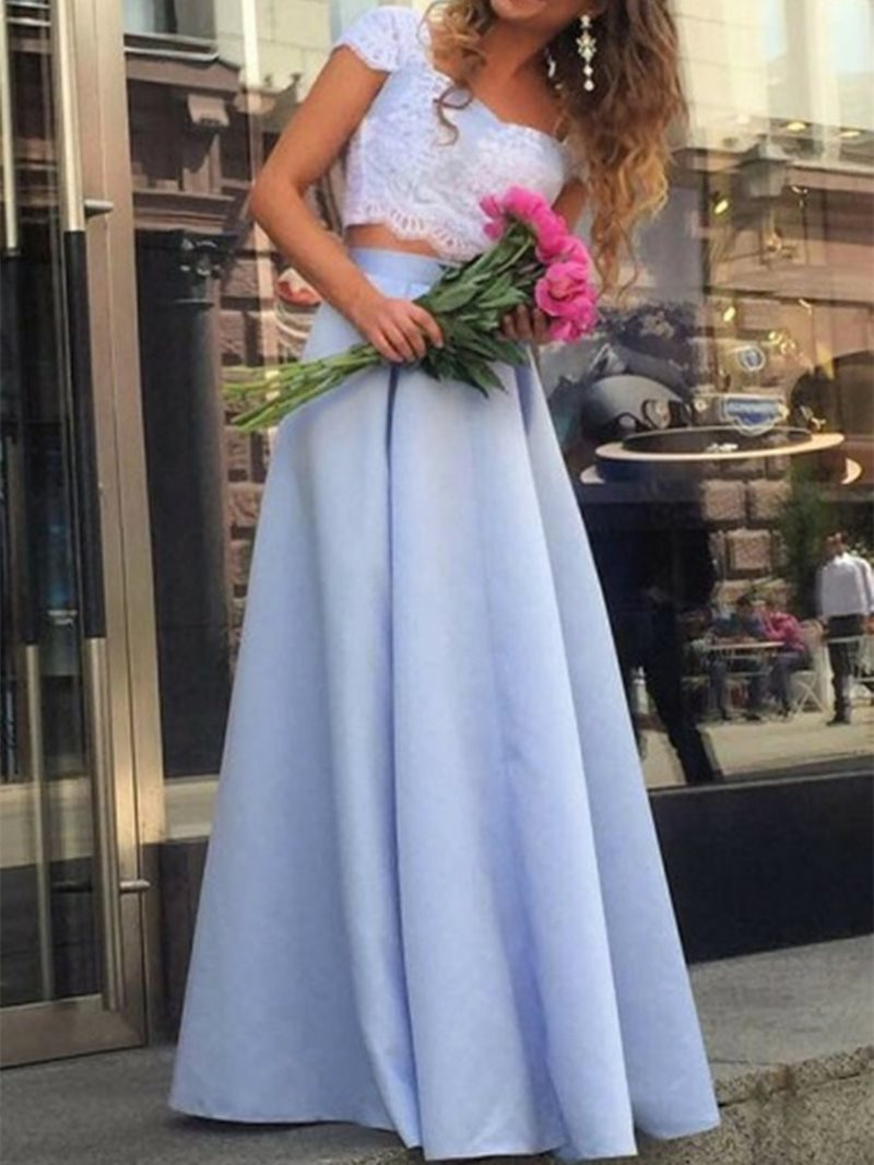 Floor-Length Square Sleeveless Evening Dress