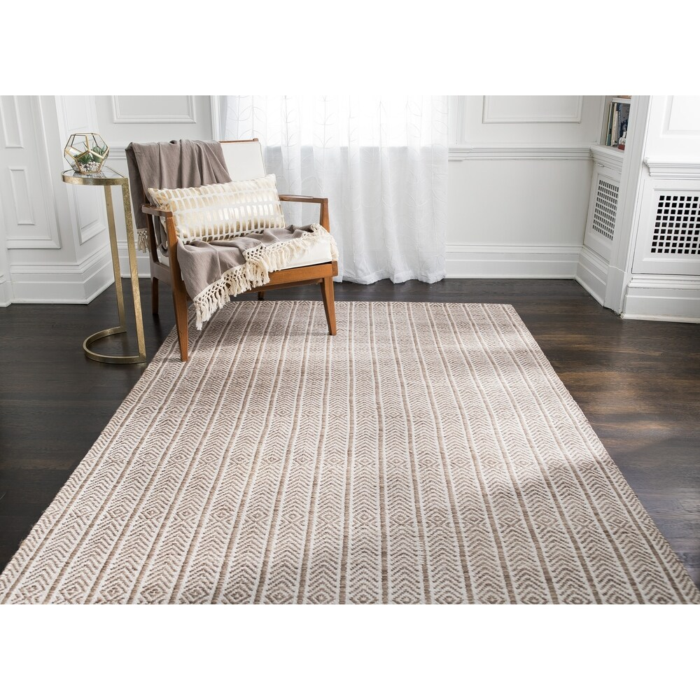 Jani Cali Tan Cotton/Jute Handwoven Rug (Tan 8' x 10')