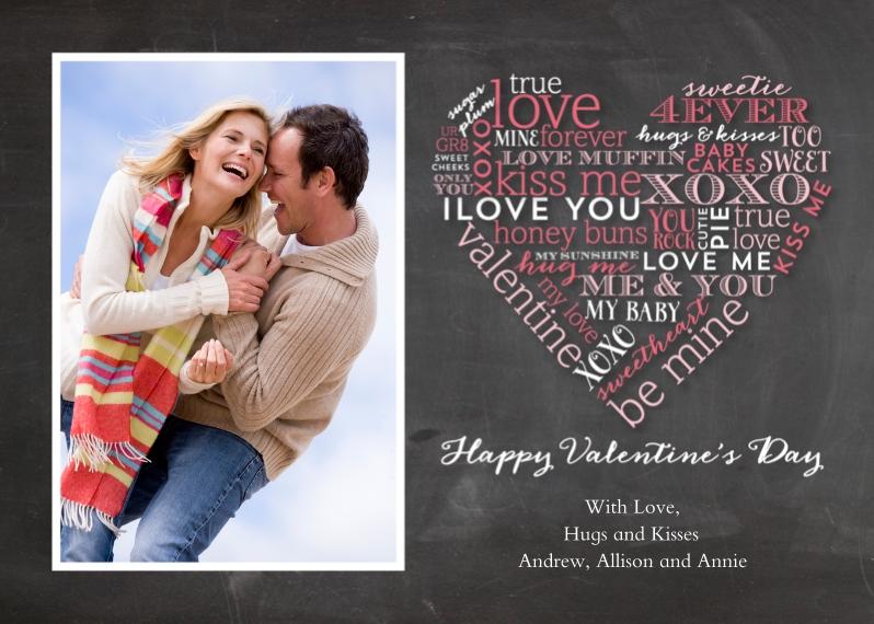 Valentine's Cards 5x7 Folded Cards, Standard Cardstock 85lb, Card & Stationery -Valentine's Day Chalkboard Word Heart