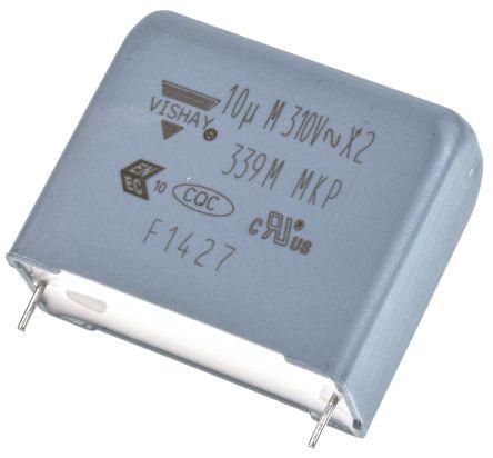 Vishay 10μF Polypropylene Capacitor PP 310V ac ±20% Tolerance Through Hole F339M X2 Series