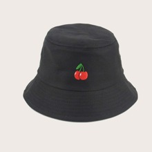Cherry Embroidery Bucket Hat