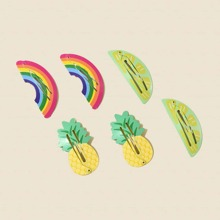 6pcs Pineapple & Rainbow Design Hair Clip