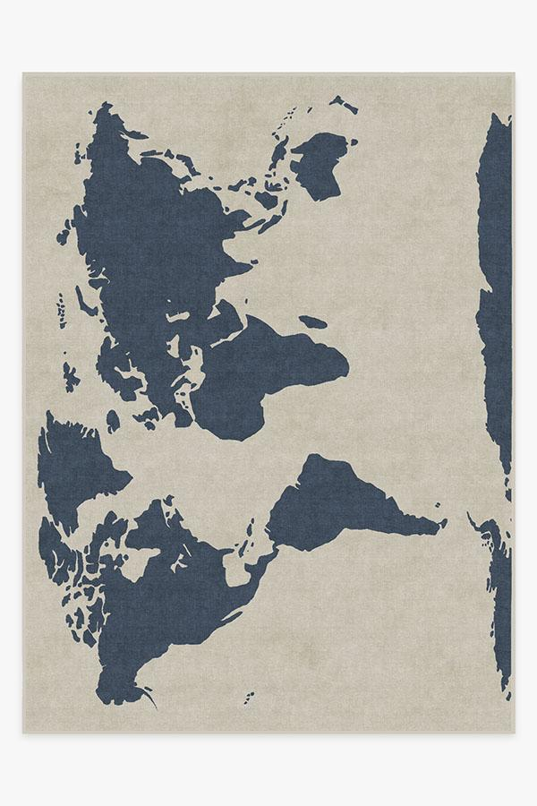 Washable Rug Cover & Pad | World Map Ivory Rug | Stain-Resistant | Ruggable | 9x12