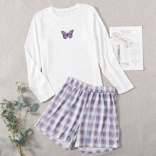 Butterfly Print Tee & Plaid Shorts PJ Set