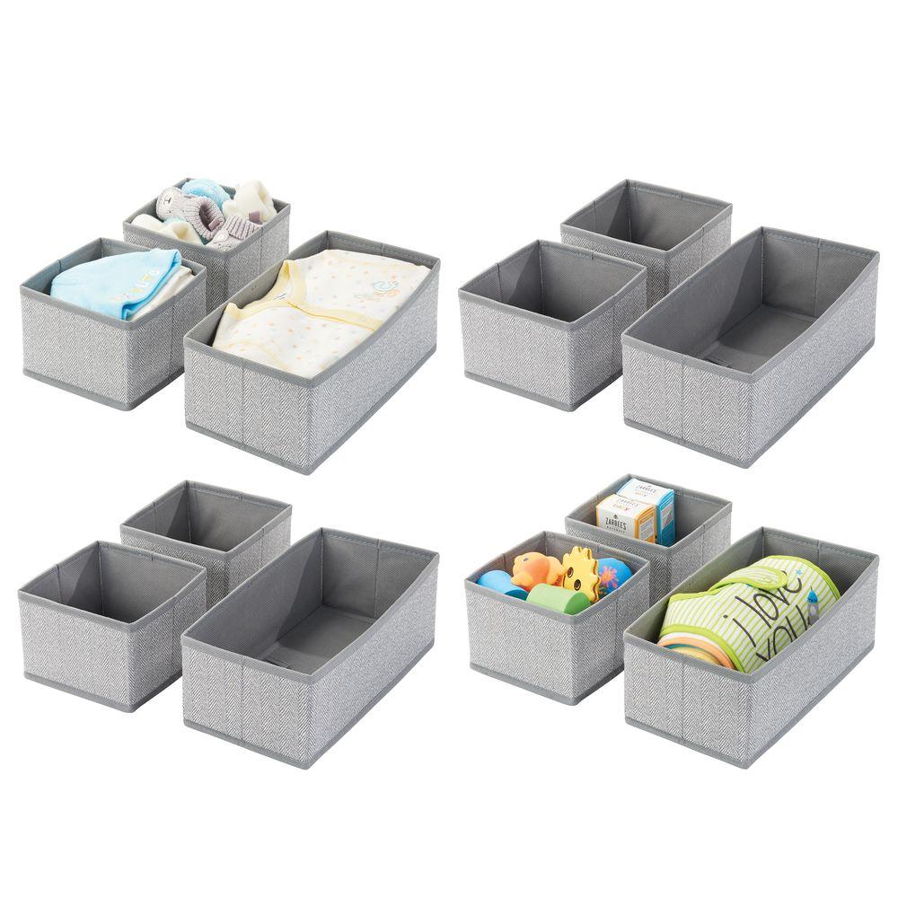 Baby + Kids Fabric Drawer Storage Organizers in Gray Herringbone, Set of 12, by mDesign