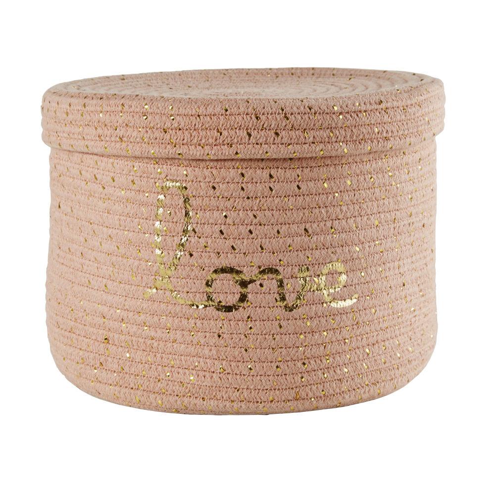 Korb aus Baumwollgeflecht mit aufgestickter Schrift, rosa