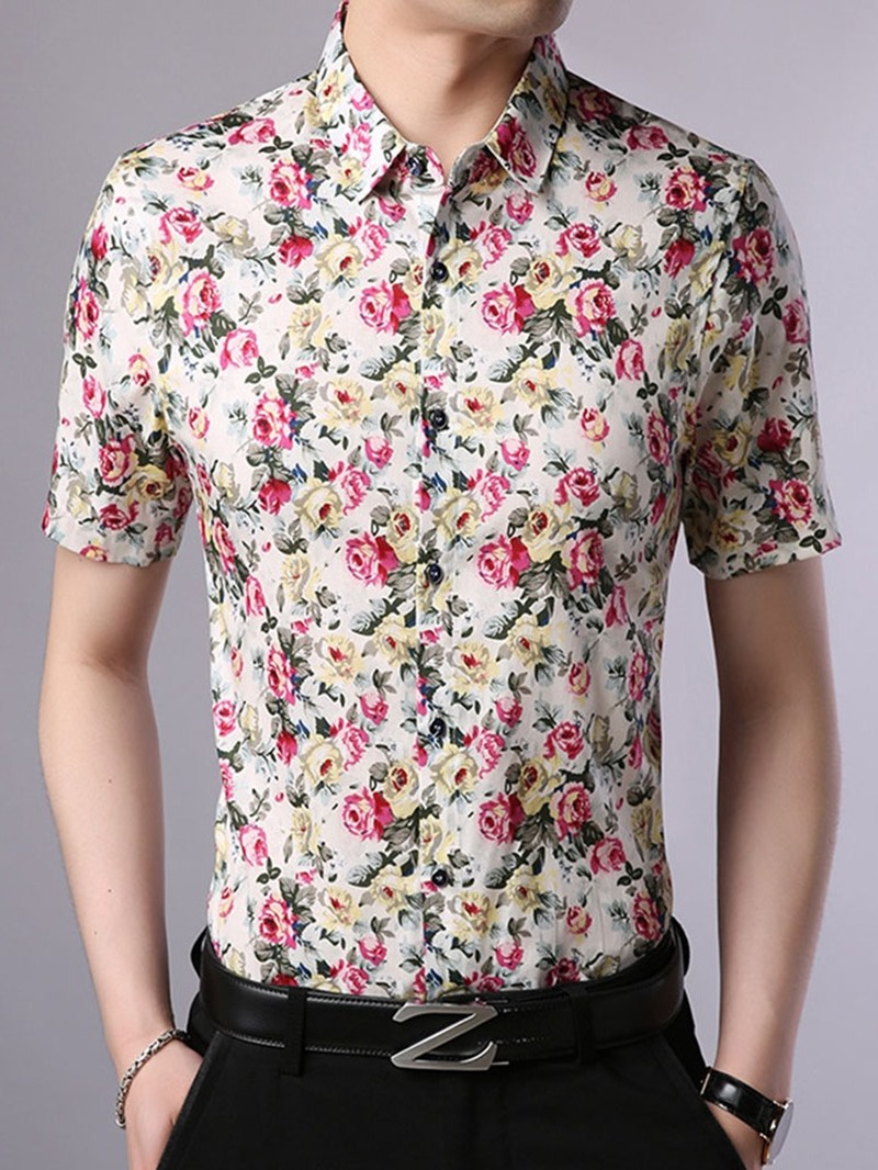 Ericdress Lapel Floral Print Slim Single-Breasted Shirt