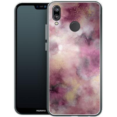 Huawei P20 Lite Silikon Handyhuelle - Smoky Marble Watercolor Pink von Ninola Design