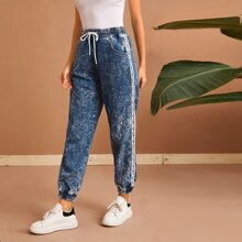 Letter Graphic Tape Drawstring Waist Jeans