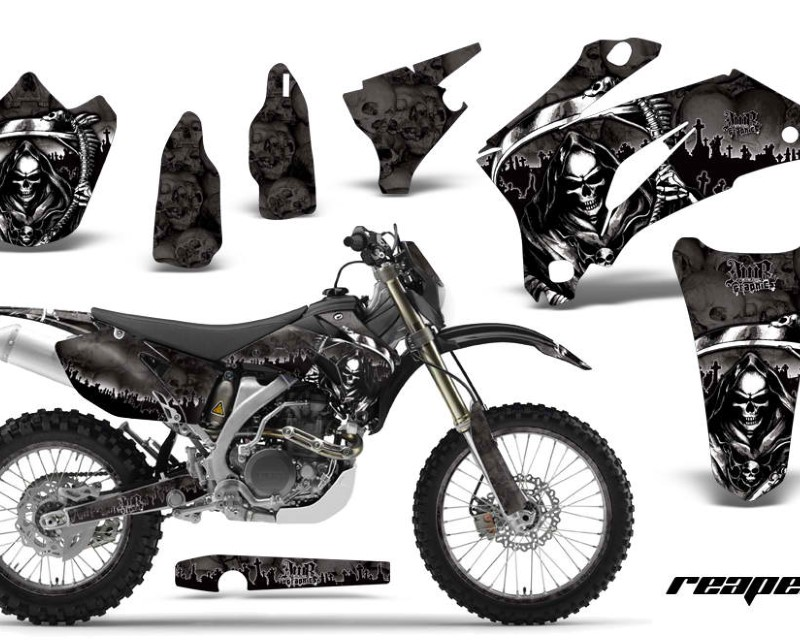 AMR Racing Graphics MX-NP-YAM-WR250F-07-14-WR450F-07-11-RP K Kit Decal Wrap + # Plates For Yamaha WR250F 2007-2014 WR450F 2007-2011áREAPER BLACK