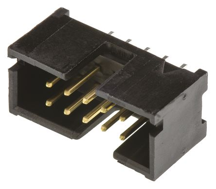 TE Connectivity AMP-LATCH Series, 2.54mm Pitch, 10 Way 2 Row Shrouded Straight PCB Header, Through Hole