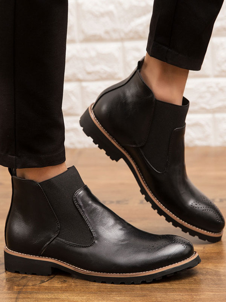 Milanoo Man\'s Boots Round Toe Chelsea Booties