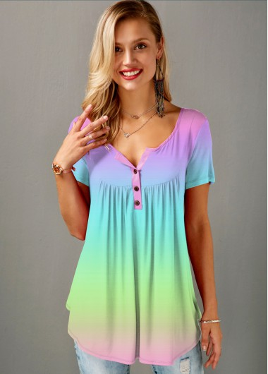 Multi Color Button Detail Gradient T Shirt - XL