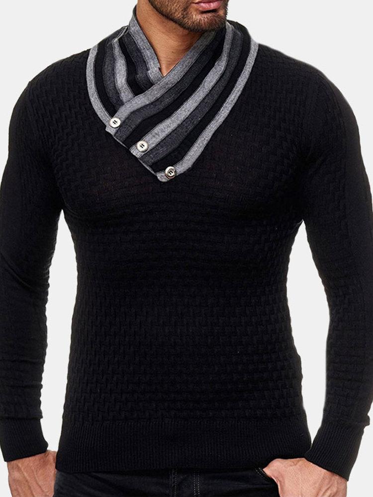 Men's Long Sleeve Turtleneck Knit Sweater Casual Basic Black Sweater