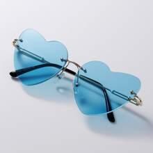 Rimless Heart Shaped Lens Sunglasses