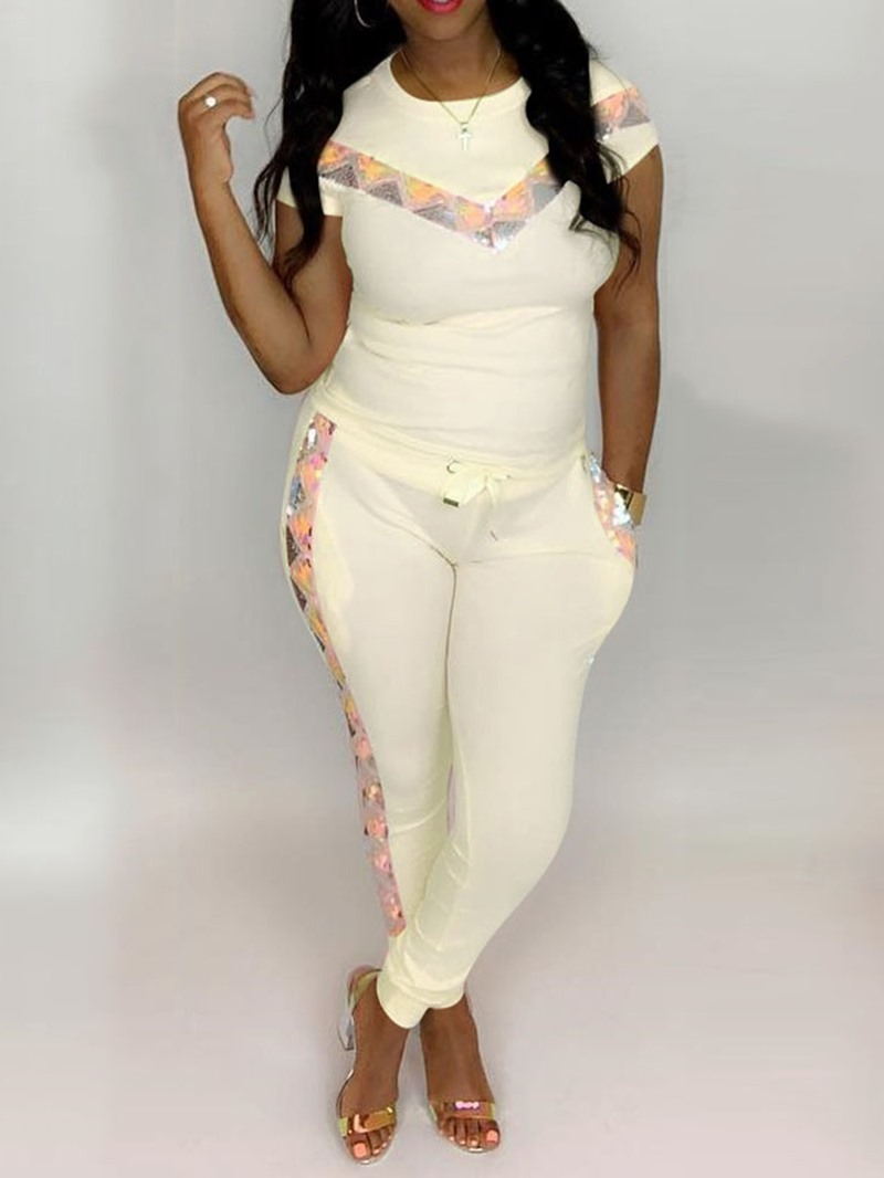 Ericdress Color Block Sequins Print T-Shirt And Pants Two Piece Sets