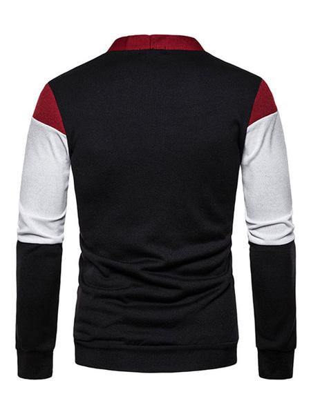 Milanoo Men Sweaters Cardigans Color Block Long Sleeves Knitwear