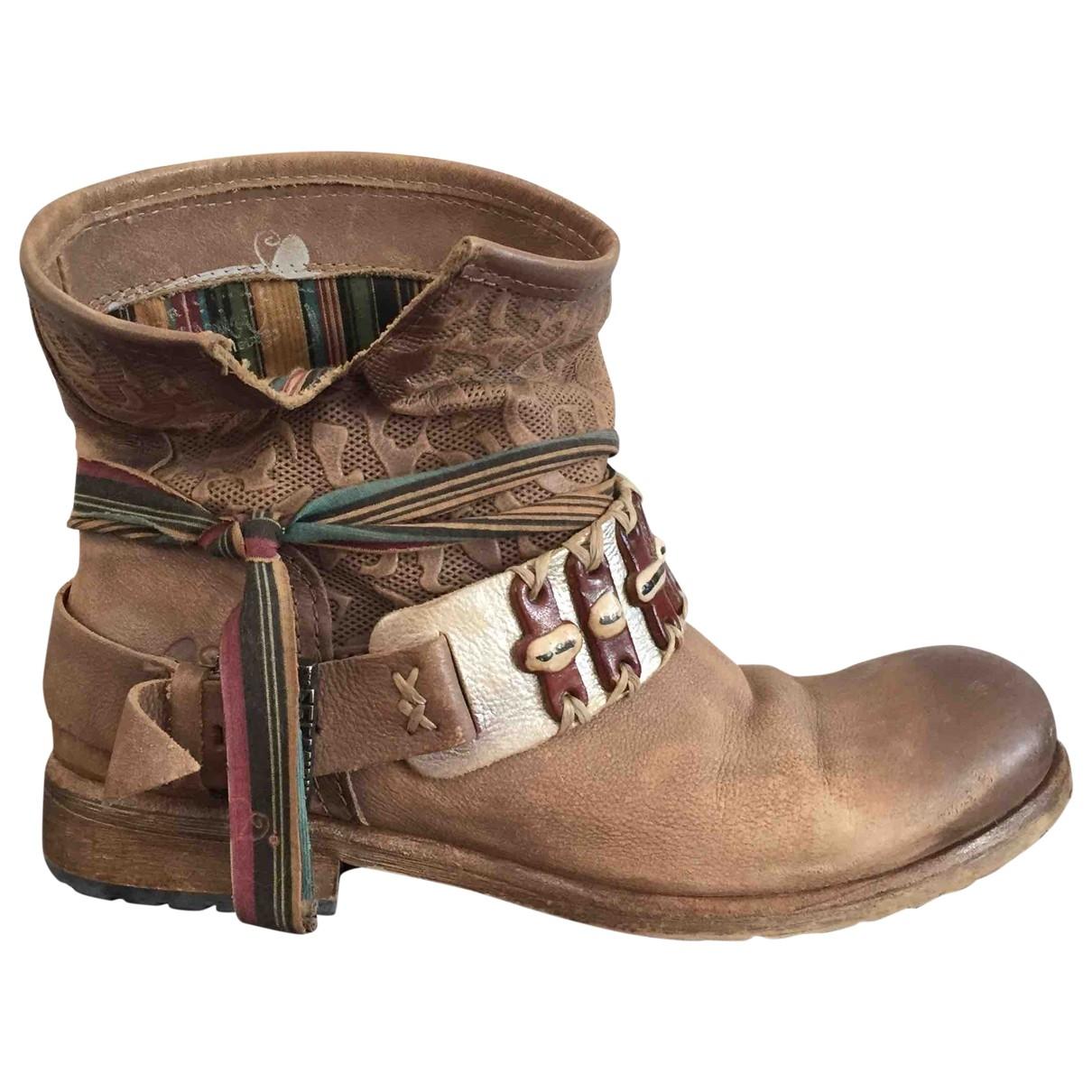 - Boots Hippie Chic pour femme en cuir - beige
