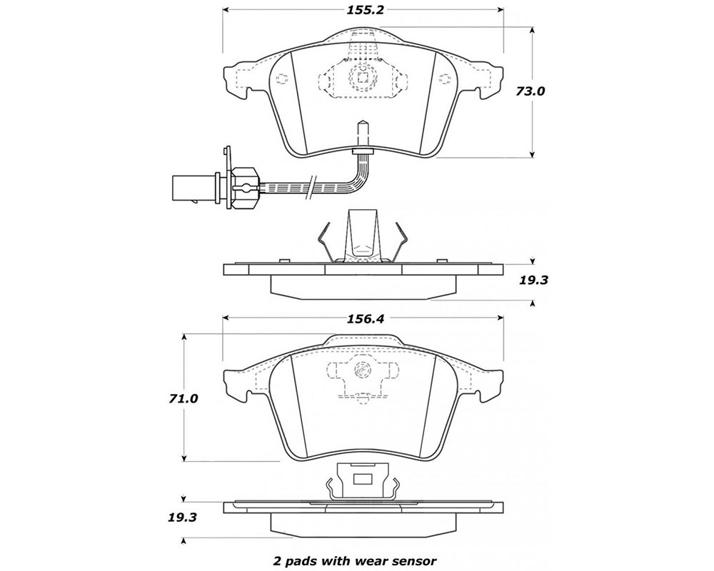 StopTech 308.09151 Street Brake Pads Front with Shims Audi Front