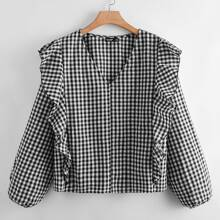 Camisa de guingan ribete con fruncido