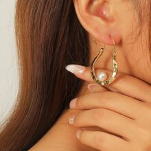 Faux Pearl Decor Hoop Earrings
