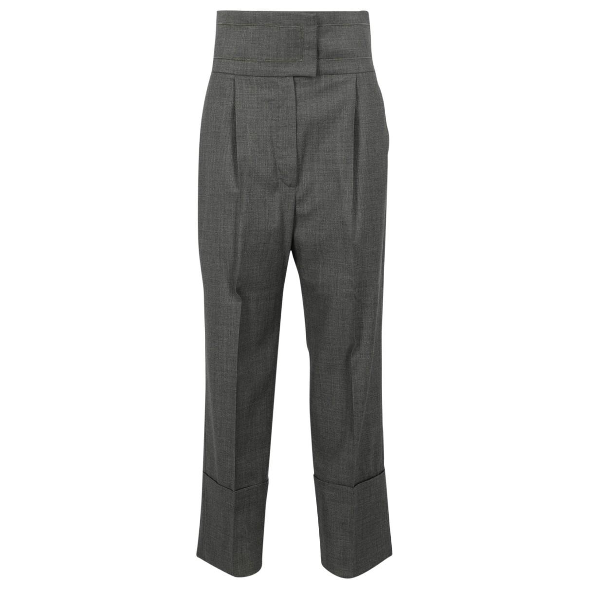 Brunello Cucinelli \N Grey Wool Trousers for Women 42 IT