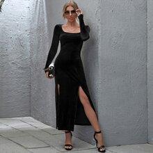 M-slit Thigh Velvet Dress