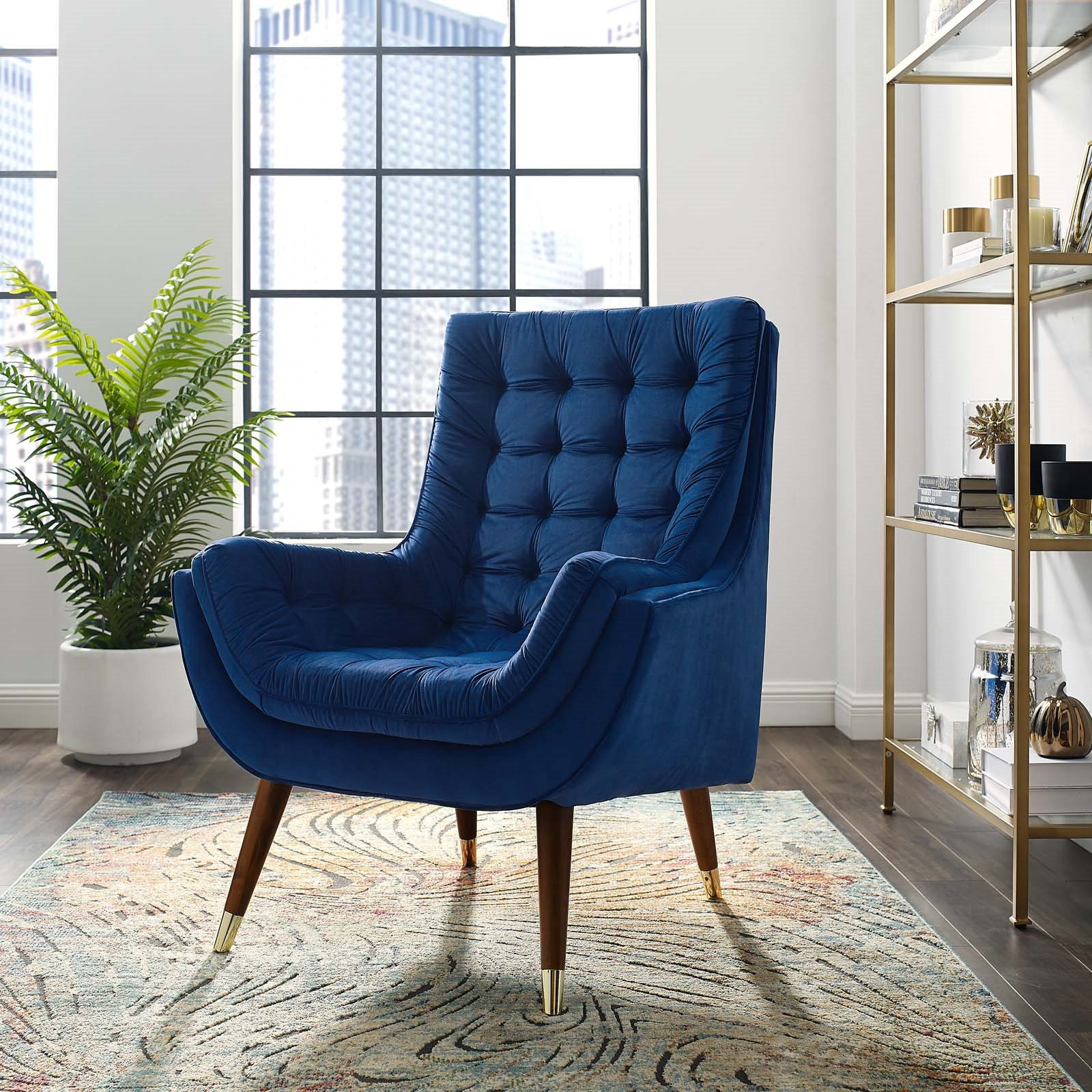 Suggest Button Tufted Performance Velvet Lounge Chair in Navy