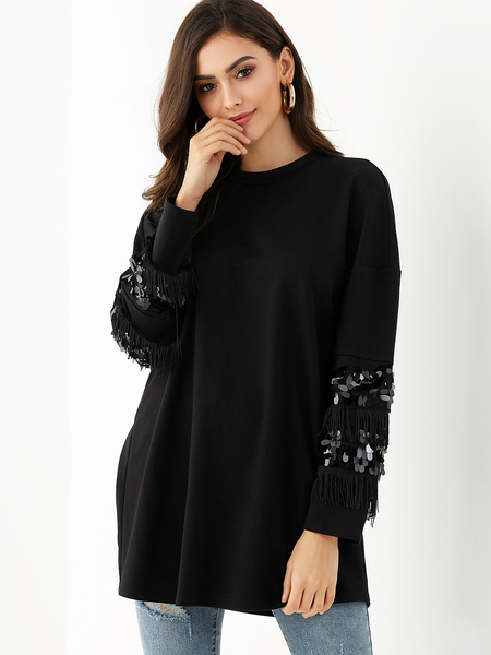 YOINS Black Sequins Embellished Round Neck Long Sleeves Tee