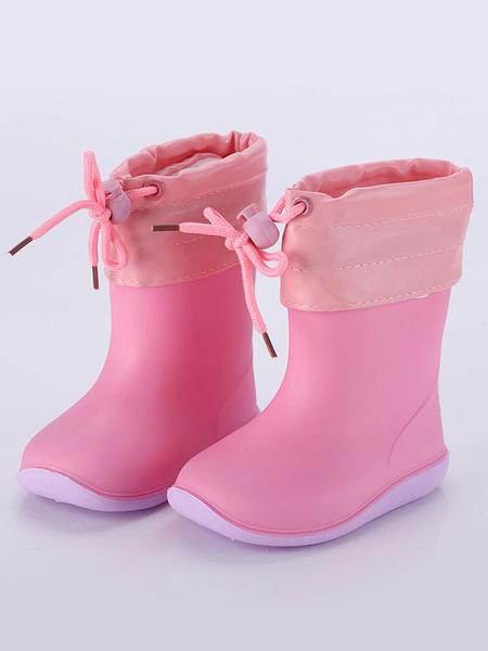 Milanoo Botas de lluvia para niñas, niños, zapatos antideslizantes, color block, zapatos de punta redonda para niños