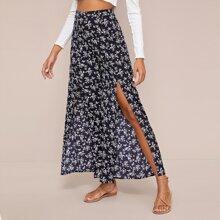 Split Thigh Ditsy Floral Wide Leg Pants
