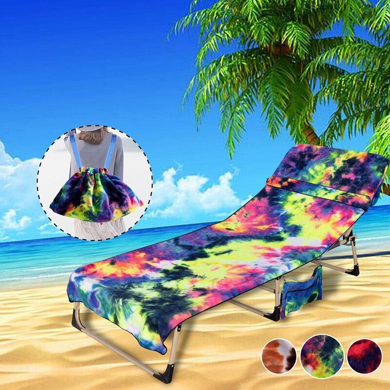 Tie-Dye Pool Chair Cover with Side Pockets Microfiber Chaise Lounge Chair Towel Cover for Sun Lounger Pool Sunbathing Ga