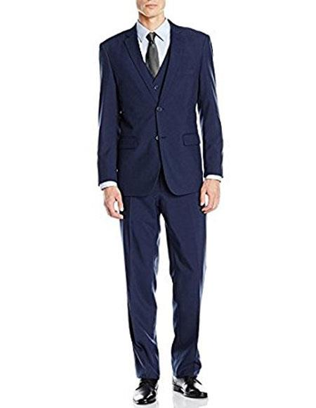 Slim Skinny European fit Vest 3Pieces Suit Notch Lapel Side Vent Blue
