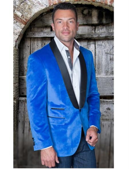 Sport Coat Jacket Mens Royal Shawl Collar Velvet Blazer