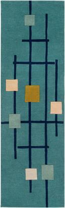 Forum FM-7201 3' x 12' Runner Modern Rug in Teal  Dark Blue  Sage  Olive  Beige  Light