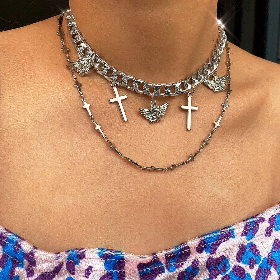 LW Lovely Stylish Cross Silver Necklace
