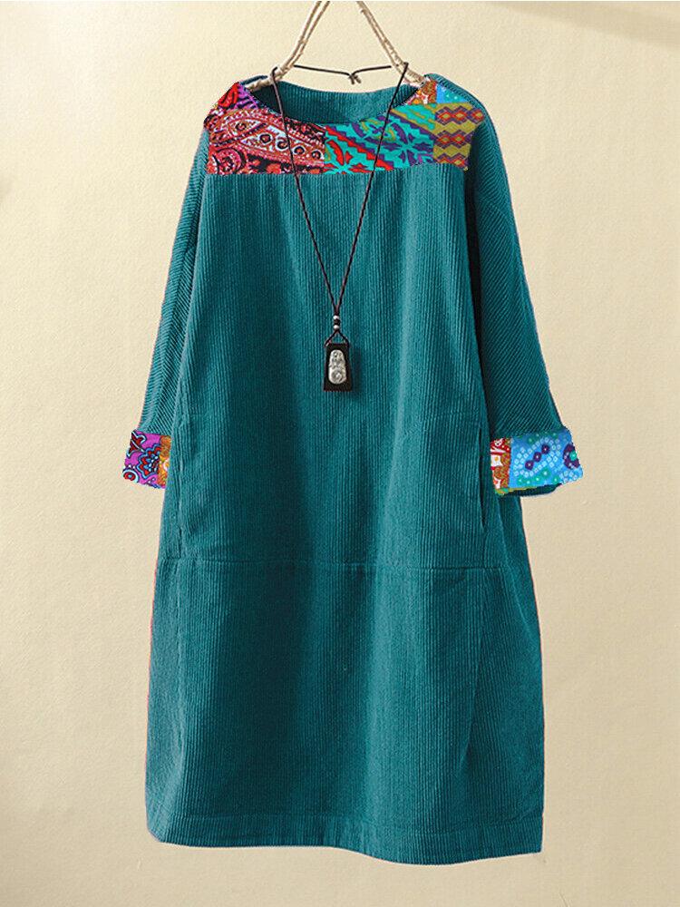 Corduroy Print Patchwork Plus Size Vintage Dress