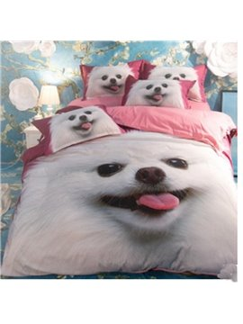 Lovely Pomeranian Puppy 3D Reactive Printed 4-Piece Polyester Duvet Cover Sets