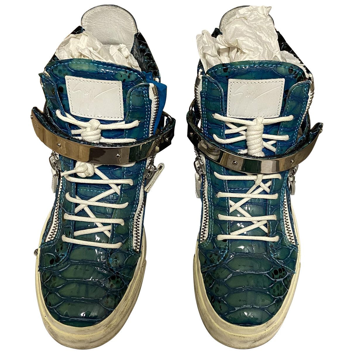 Giuseppe Zanotti Donna Blue Patent leather Trainers for Women 39 EU
