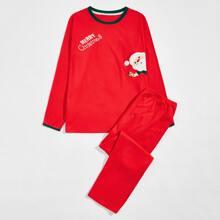 Conjunto de pijama con estampado de slogan y dibujos animados de Navidad