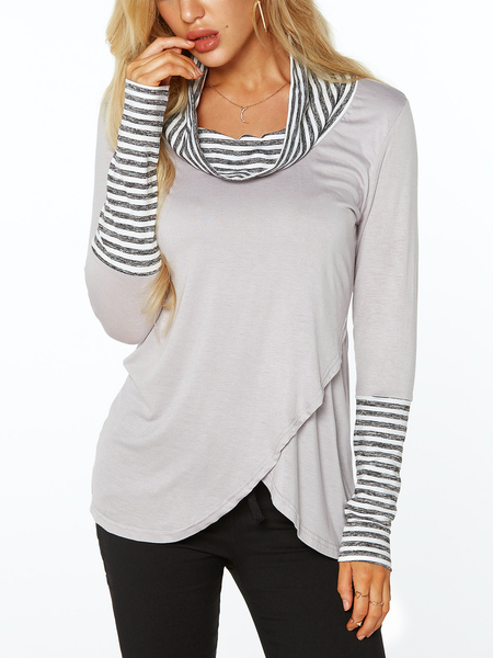 Yoins Grey Roll Neck Stripe Details Overlay Front T-shirts