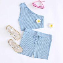 Girls One Shoulder Knit Top & Shorts Set